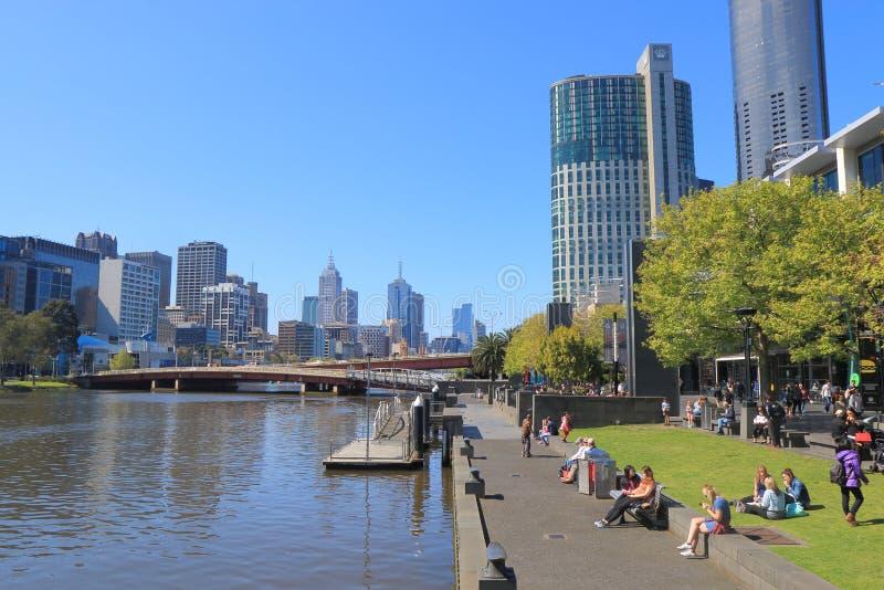 Cityscape Australië van de waterkant van Melbourne stock foto's