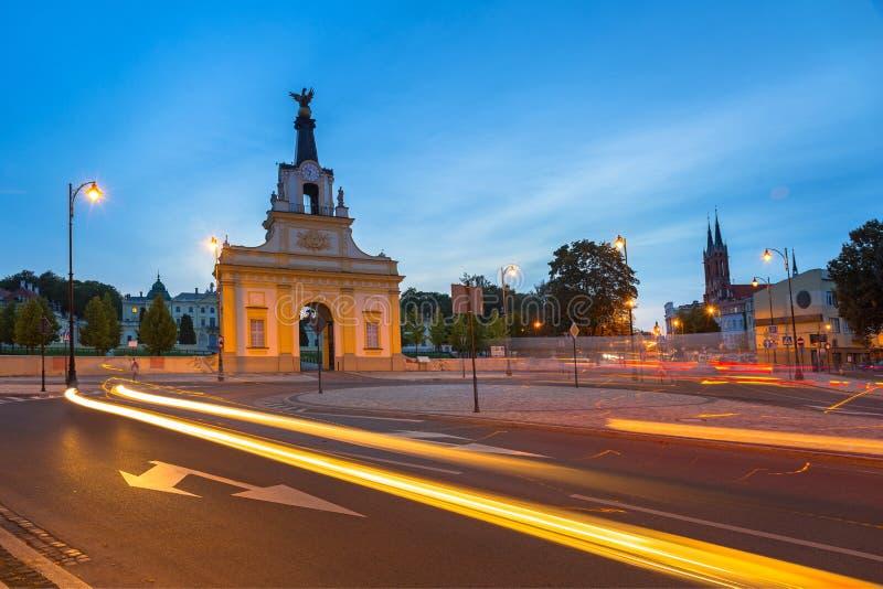 Cityscape av Bialystok med trafikljus royaltyfri foto