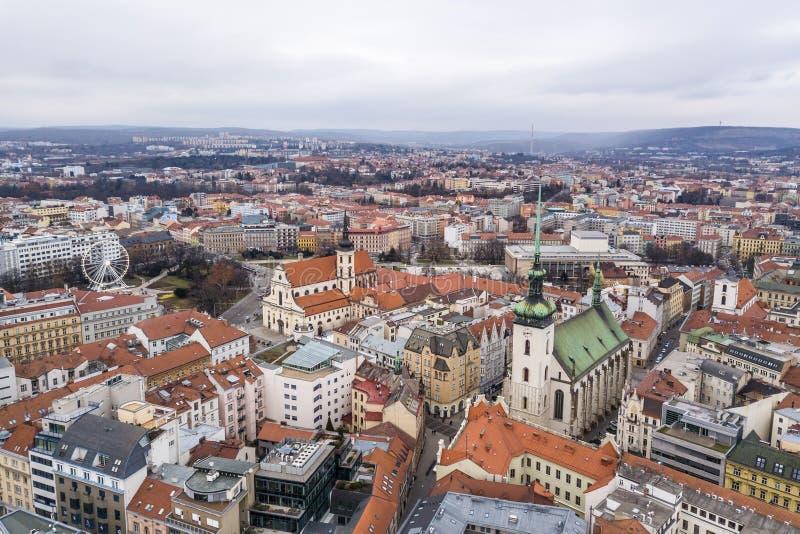 Cityscape av Brno i Tjeckien arkivfoto
