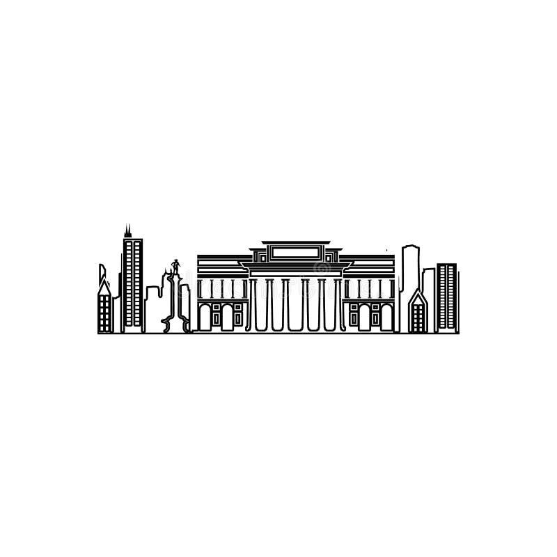 cityscape av den Berlin symbolen Beståndsdel av Cityscape för mobilt begrepp och rengöringsdukappssymbol Översikt tunn linje symb vektor illustrationer