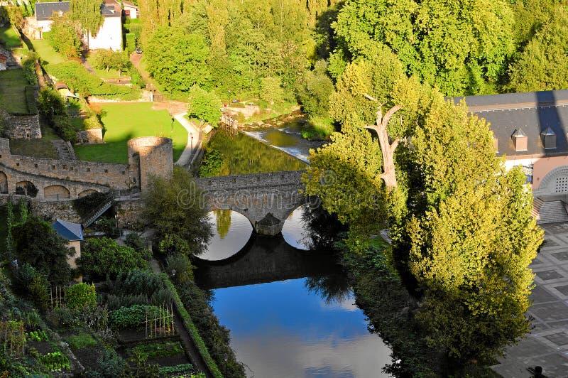 Cityscape av den Luxembourg staden i morgonen royaltyfri bild