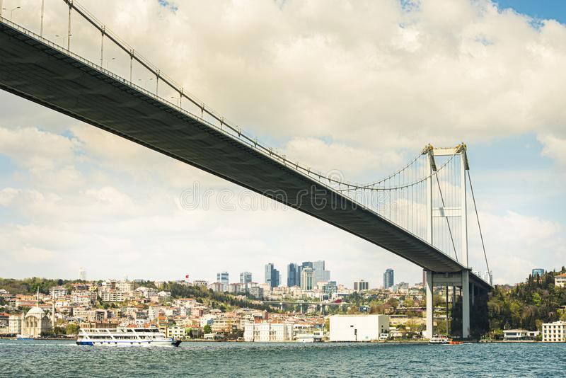 Cityscape av Istanbul med forntida mosk?er och den gamla staden i mitt- middag, samtalfoto p? kryssning royaltyfria bilder
