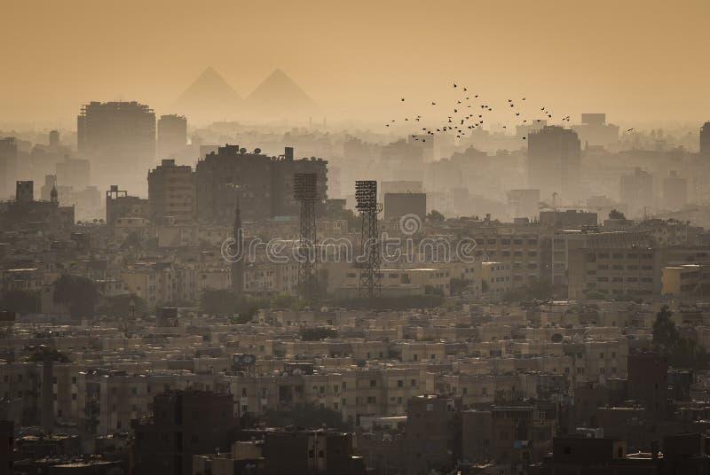 Cityscape av Kairo, med de stora pyramiderna av Gizeh i bakgrunden arkivfoton