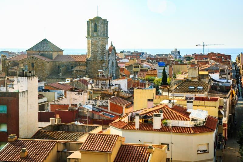 Cityscape av Malgrat de Fördärva, Catalonia, Spanien arkivbilder