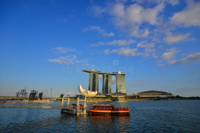 Cityscape av Marina Bay i Singapore royaltyfria foton