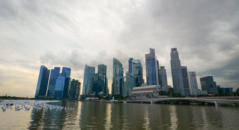 Cityscape av Marina Bay i Singapore fotografering för bildbyråer