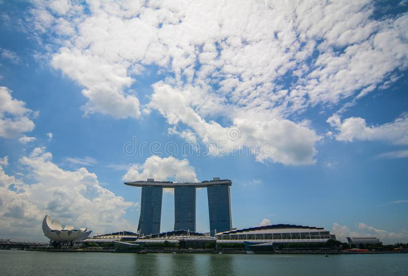 Cityscape av Marina Bay, Singapore royaltyfria bilder