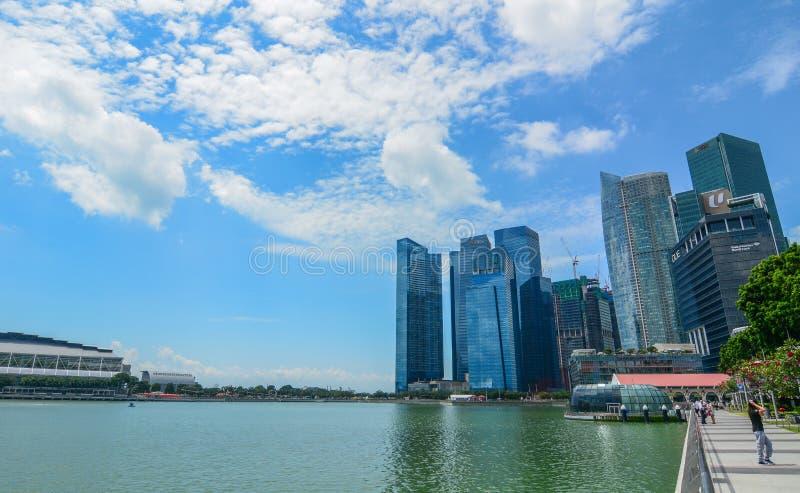Cityscape av Marina Bay, Singapore arkivbilder