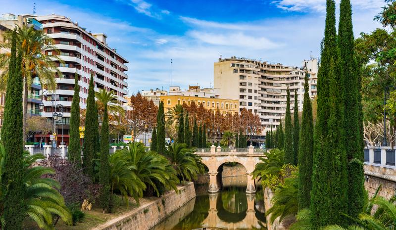 Cityscape av Palma de Majorca, Spanien arkivbild