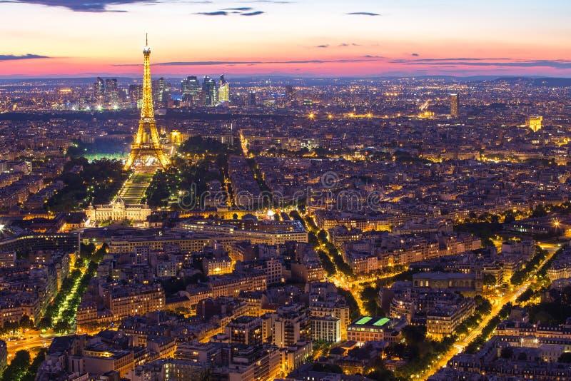 Cityscape av Paris stadshorisont i Paris, Frankrike arkivbild
