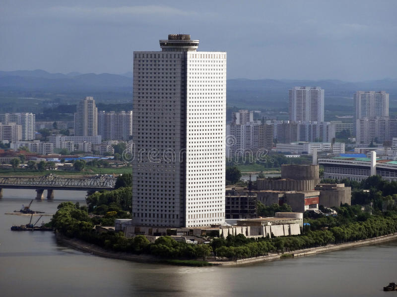 Cityscape av Pyongyang Nordkorea royaltyfria foton