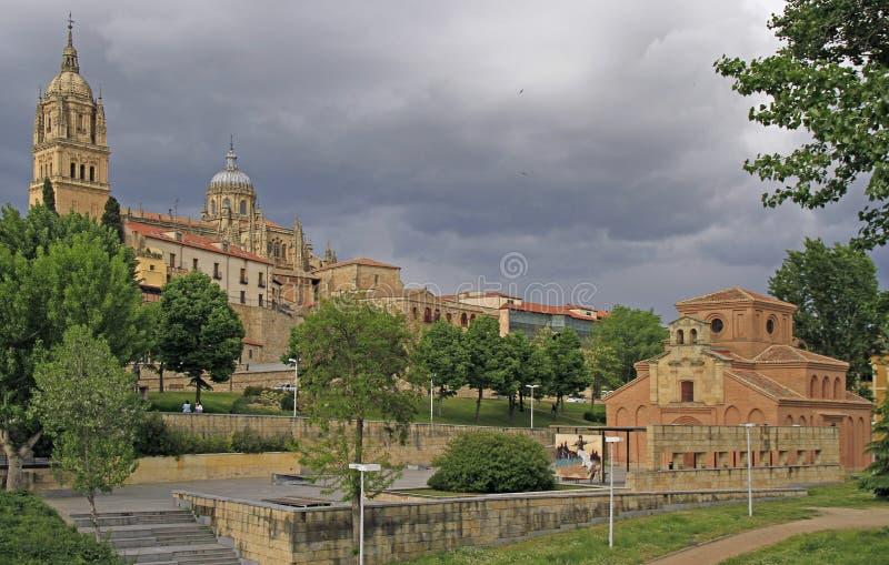 Cityscape av Salamanca med sikt av den nya stadsdomkyrkan royaltyfri fotografi