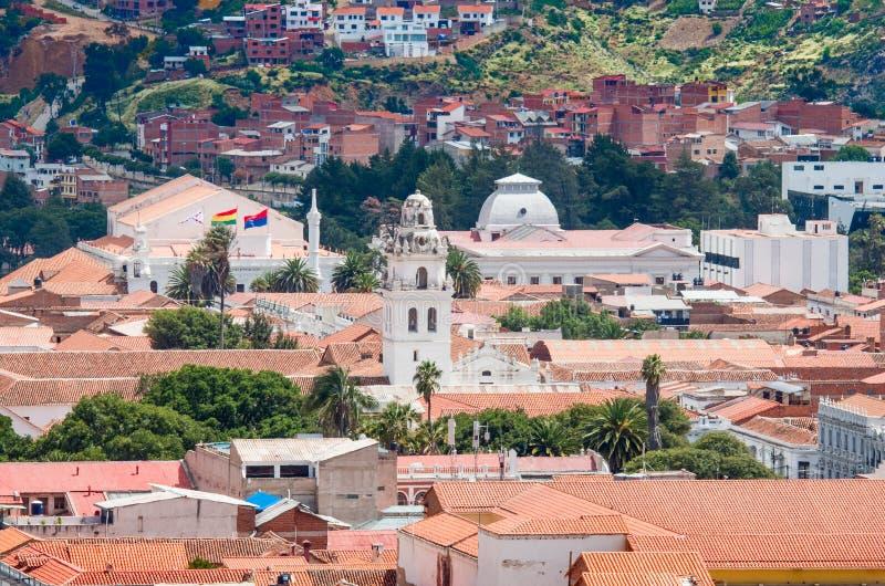 Cityscape av Sucre, Bolivia royaltyfri foto