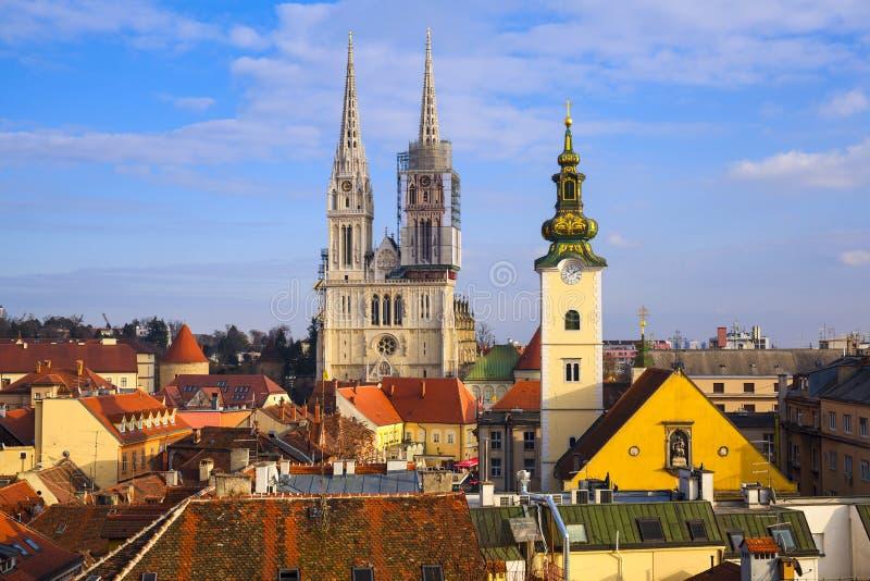 Cityscape av Zagreb, Kroatien royaltyfri fotografi