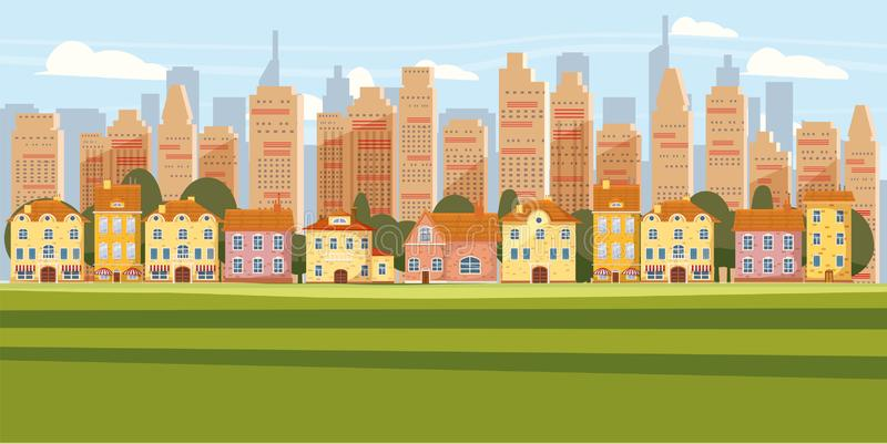 Cityscape Background Modern City Panorama With Suburban Downtown Over Skyscrapers Skyline Silhouette Cartoon Vector vector illustration
