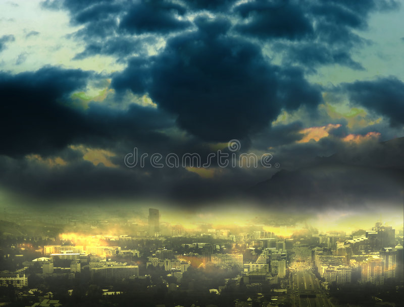 Cityscape background, night scene stock illustration