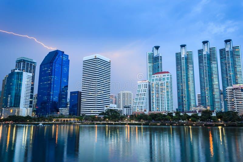 Cityscape. Bangkok Thailand with storm and thunderbolt stock photos