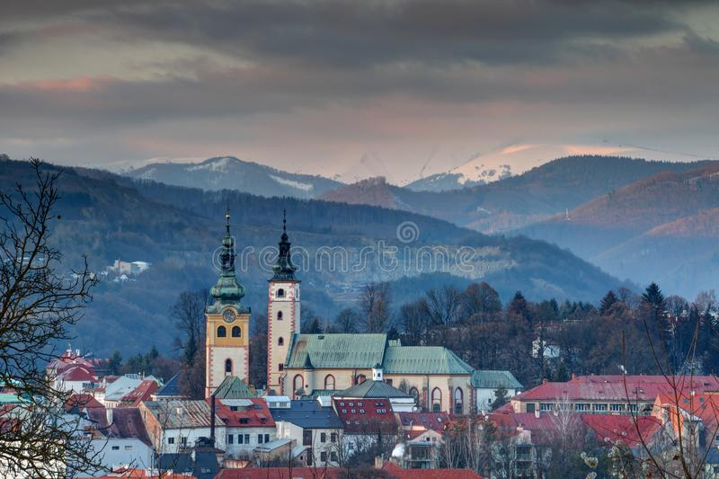 Cityscape of Banska Bystrica old town at winter sunset Slovakia stock photos