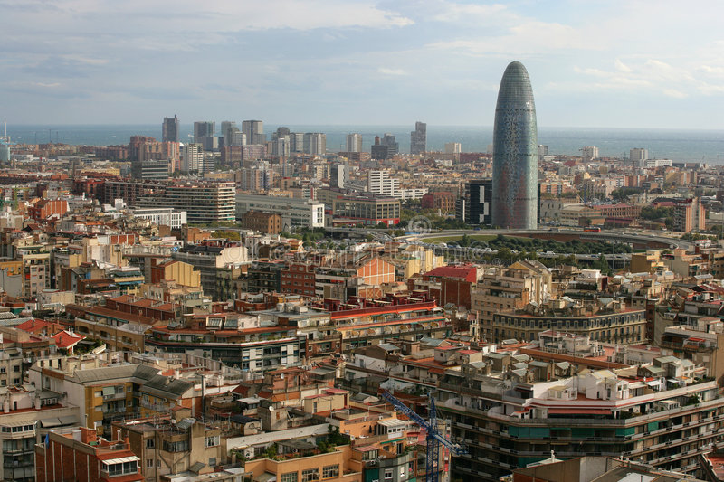 Cityscape of Barcelona. Midday in Spain, overlooking the beautiful city of Barcelona royalty free stock images