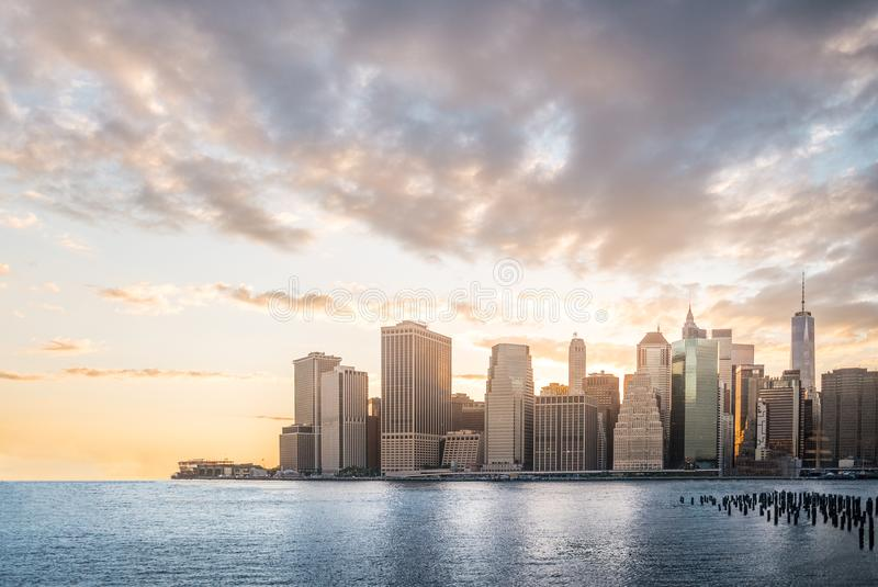 Cityscape with beautiful skyline at sunset, skyscraper in Manhattan, New York City stock image