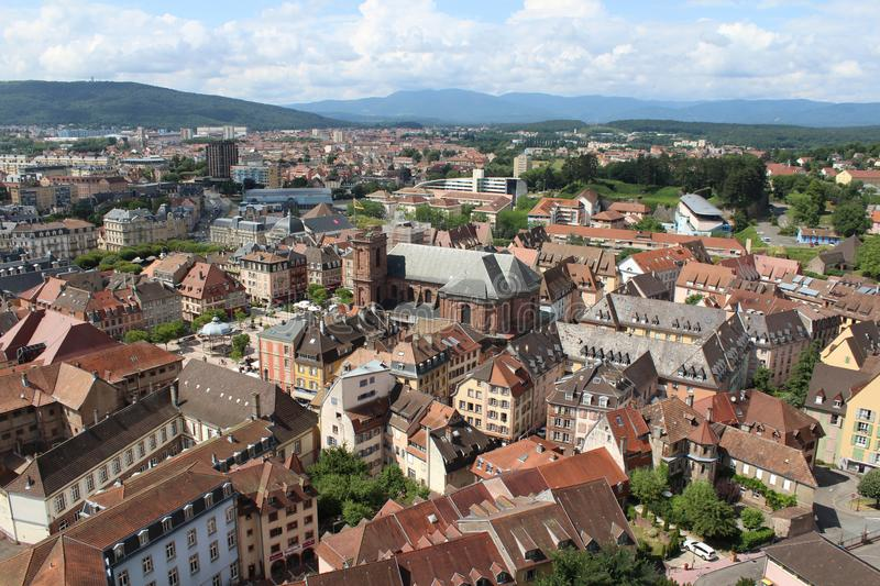 Cityscape, Belfort, Franche-Comte, France. Aerial view of the old town of Belfort in the Franche-Comte area of France. View from the old citadelle royalty free stock photo