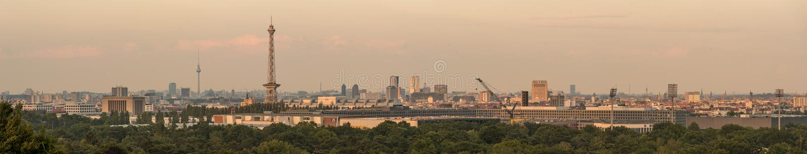 Berlin cityscape as viewed from the dragon`s hill. royalty free stock photo