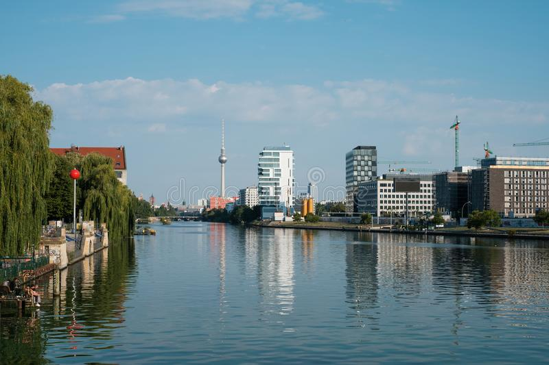 Cityscape of Berlin city / view over river Spree on Tv Tower fro royalty free stock images