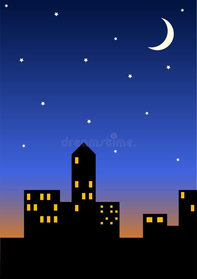 Download Cityscape bij nacht stock illustratie. Illustratie bestaande uit avond - 285906