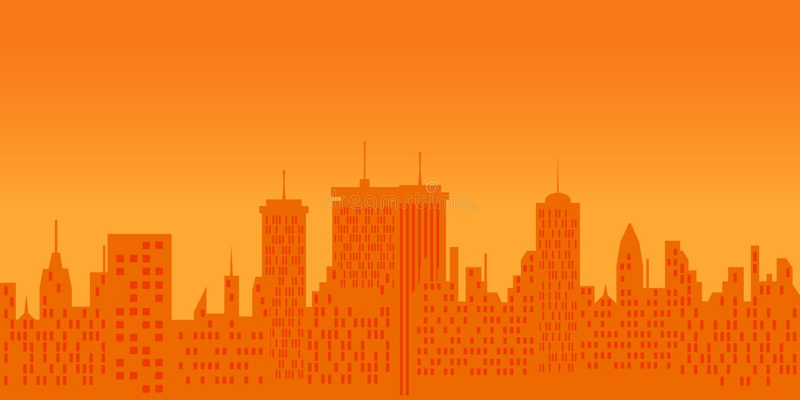 Cityscape bij zonsondergang stock illustratie