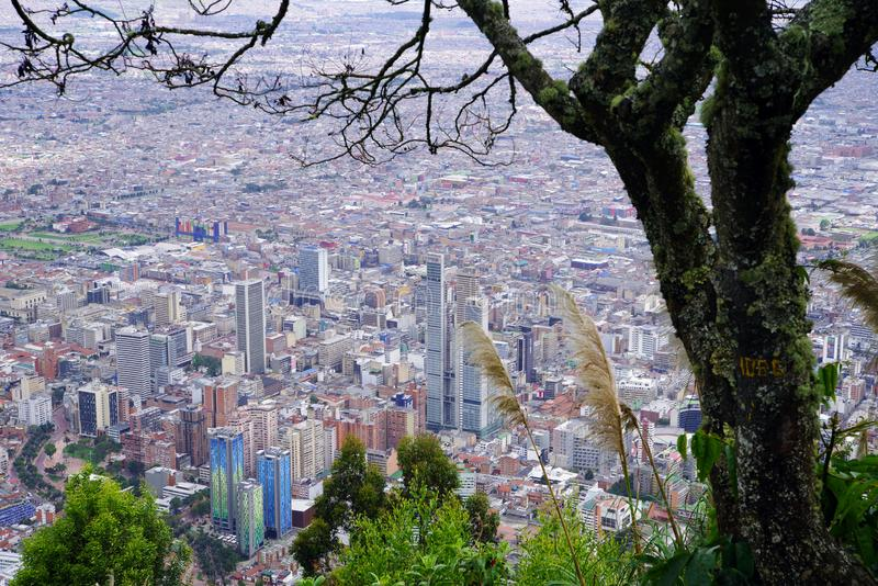 Aerial view of Bogota, seen from Monserrate hill, one of the landmarks of Bogota stock image