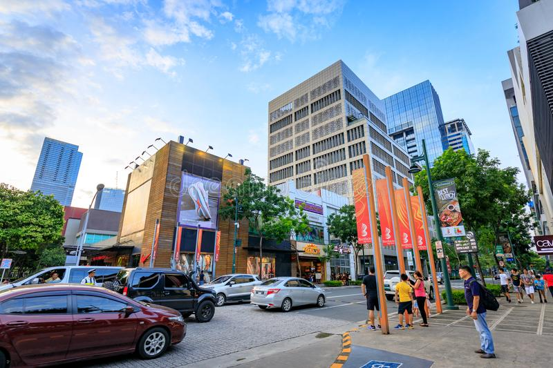 Cityscape of Bonifacio High street which is the Famous shopping. Street on Sep 1, 2017 in Taguig, Metro Manila, Philippines royalty free stock photo