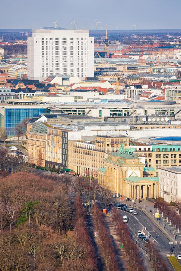 Cityscape of Brandenburg gate and Street in City centre Berlin royalty free stock photography