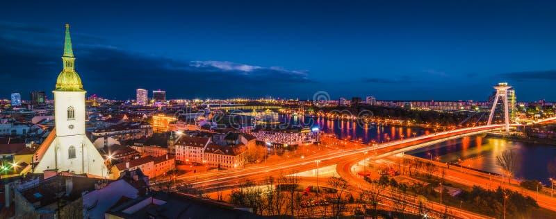 Bratislava Cityscape at Night stock image