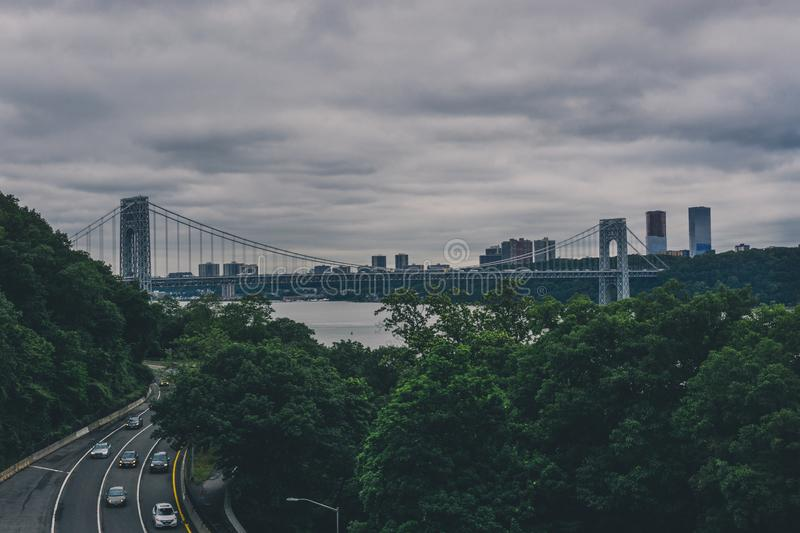 Cityscape With A Bridge stock photography