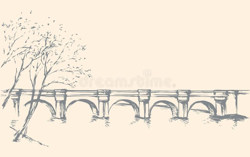 Cityscape with bridge over river. Vector drawing. Aged bridgework road on lake district scene. Freehand line black ink hand drawn picture sketchy in art retro royalty free illustration