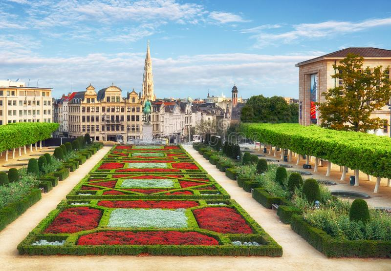 Cityscape of Brussels in a beautiful summer day stock photography