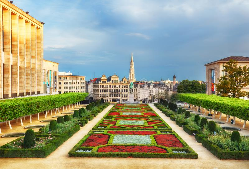 Cityscape of Brussels in a beautiful summer day royalty free stock photo