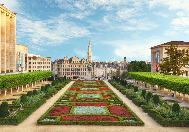 Cityscape of Brussels in a beautiful summer day royalty free stock image