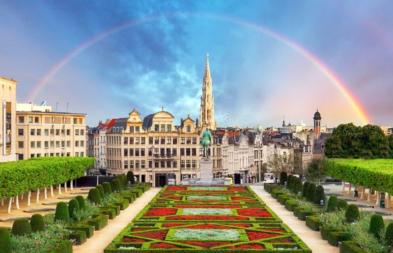 Cityscape of Brussels with rainbow, Belgium panorama skyline stock image