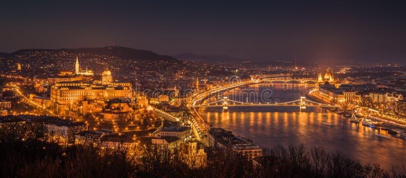 Cityscape of Budapest, Hungary at Night royalty free stock photo