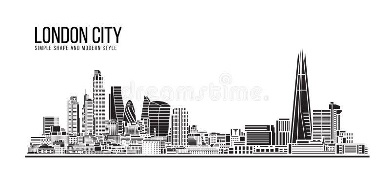 Cityscape Building Abstract Prosty kształt i nowoczesna sztuka Vector design - Londyn royalty ilustracja