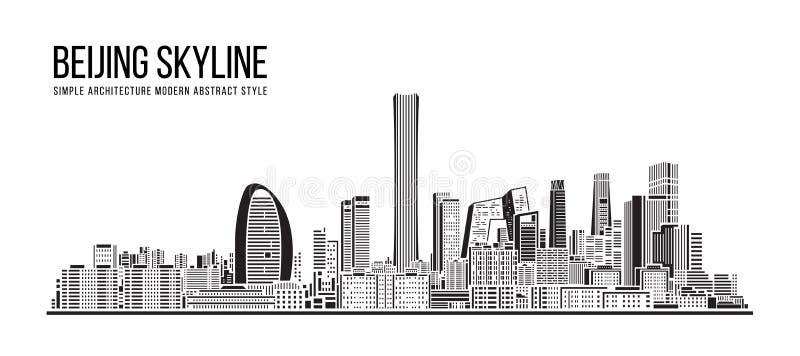 Cityscape Building Eenvoudige architectuur Moderne abstracte stijlkunst Vector Illustratie ontwerp - Peking stad stock illustratie