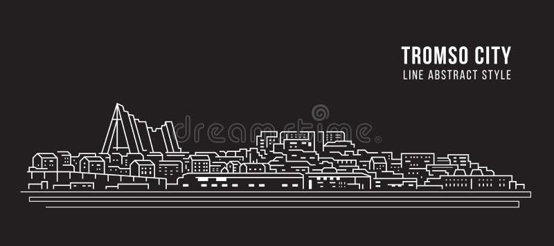 Cityscape Building Line Art Vector Diseño ilustrativo - Ciudad Tromso ilustración del vector