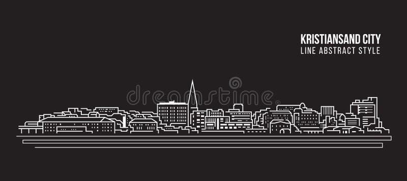 Cityscape Building Line Art Vector Diseño ilustrativo - Kristianand city ilustración del vector