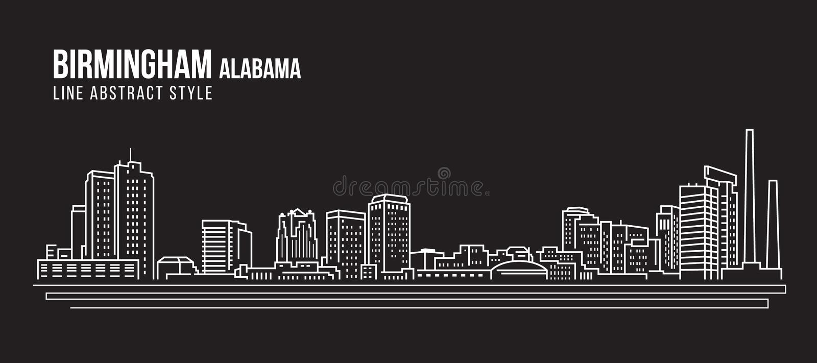 Cityscape Building Line art Vector Illustration design - Birmingham city Alabama stock illustration