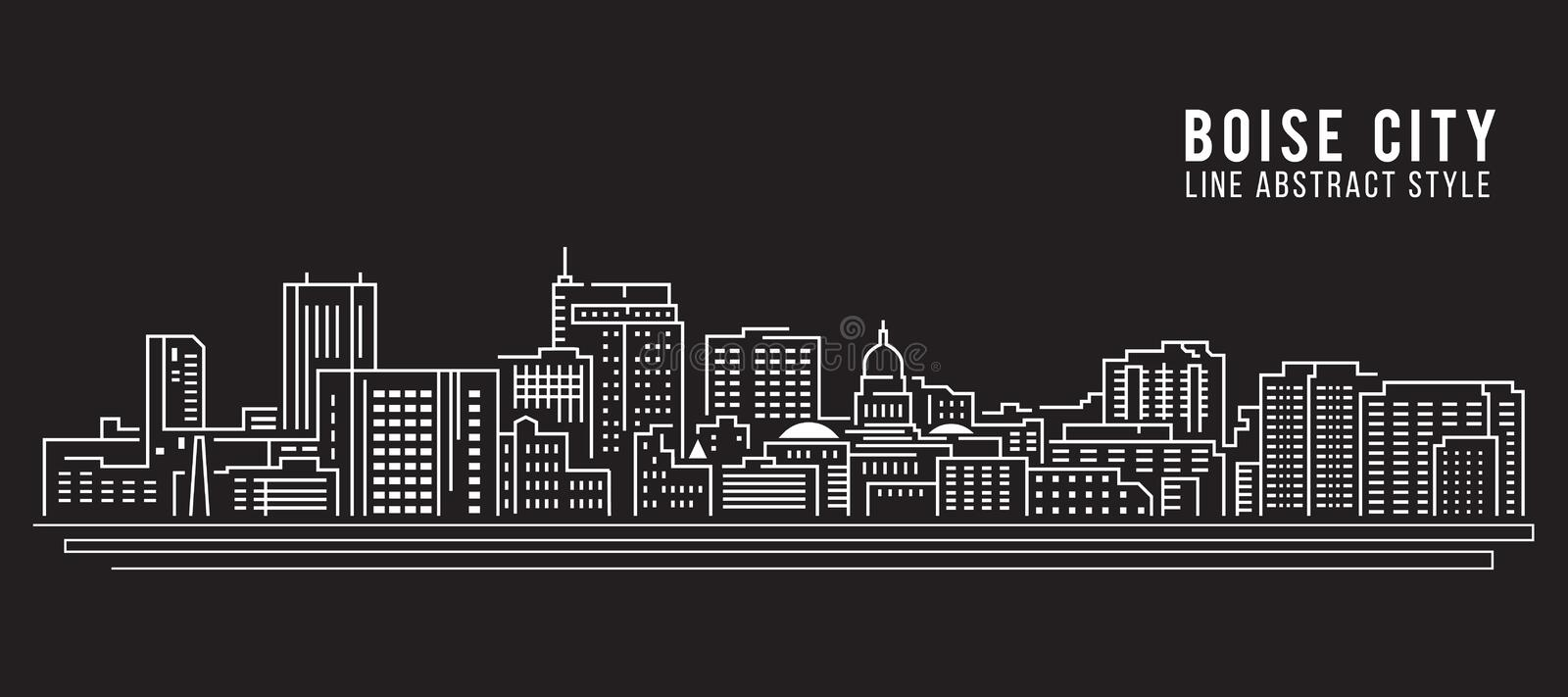 Cityscape Building Line art Vector Illustration design - Boise city vector illustration