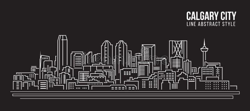 Cityscape Building Line art Vector Illustration design - Calgary city stock illustration