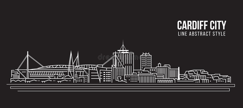 Cityscape Building Line art Vector Illustration design - Cardiff city vector illustration