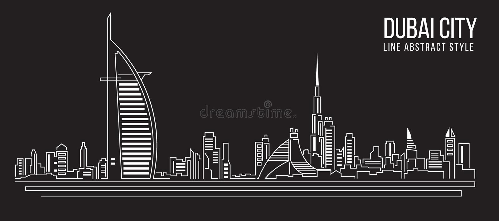 Cityscape Building Line art Vector Illustration design (Dubai city)