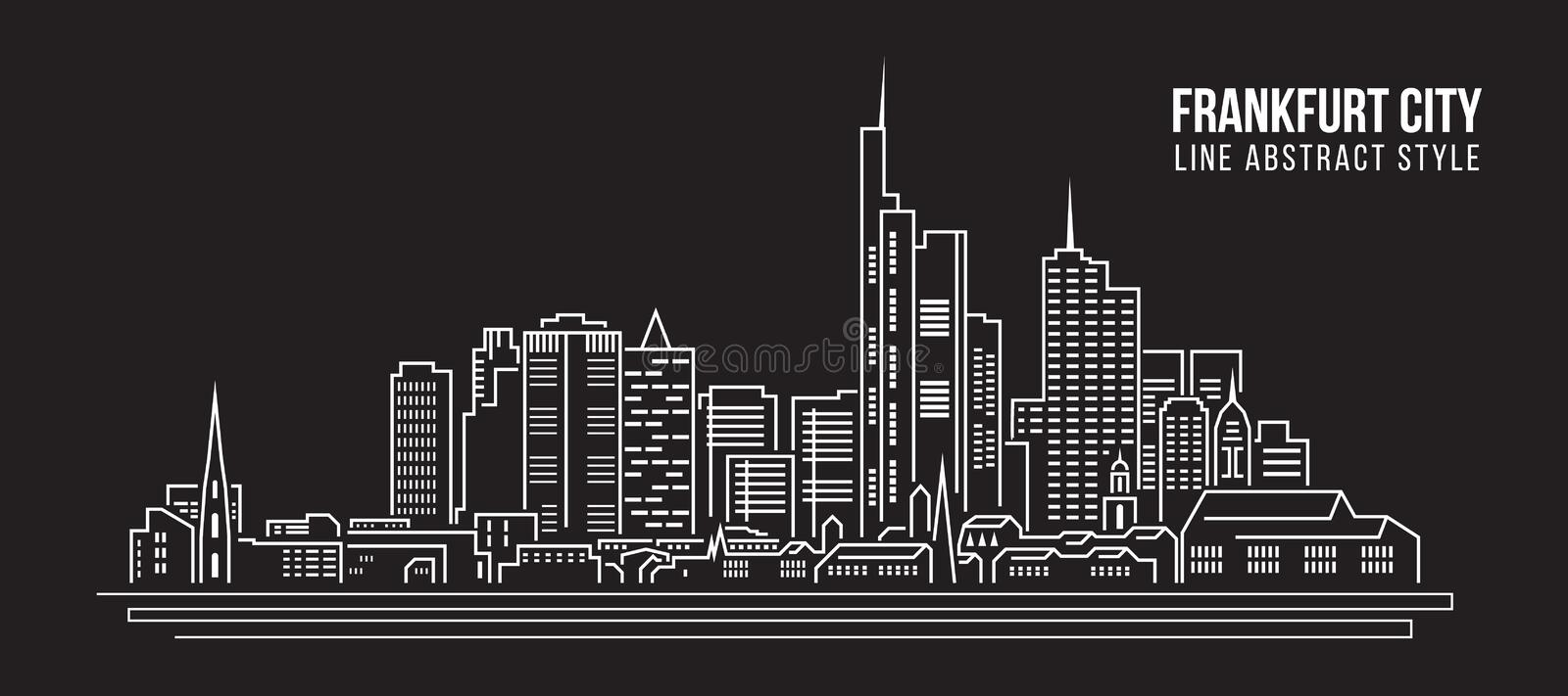 Cityscape Building Line art Vector Illustration design - frankfurt city stock illustration